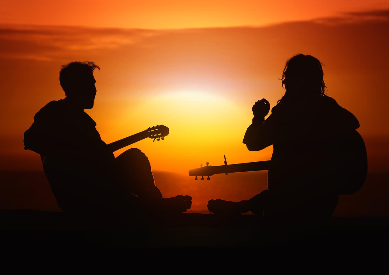 musicians in sunset
