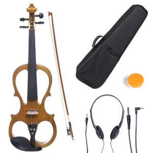 Cecilio 44CEVN-1Y Solid Wood Yellow Maple Metallic ElectricSilent Violin with Ebony Fittings