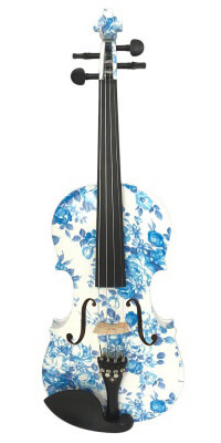 Kinglos White Blue Colored Solid Wood Violin