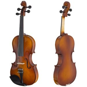 Cecilio CVN-300 Ebony Fitted Solid Wood Violin with Tuner and Lesson Book