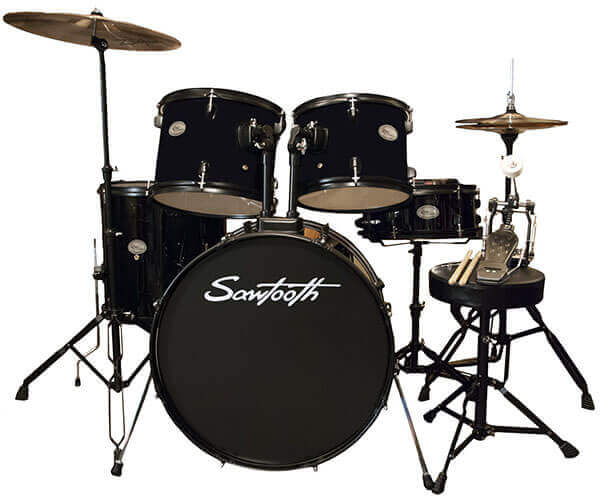 Rise by Sawtooth Full Size Student Drum Set (ST-RISE-DS-BLK-KIT-2)