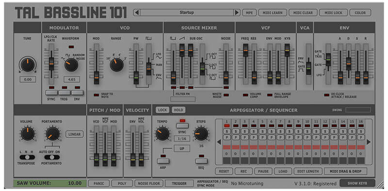 TAL BassLine-101 Software Synthesizer