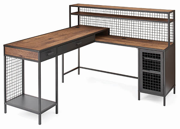 Better Homes & Gardens Lindon Place L-Shaped Desk with Cage