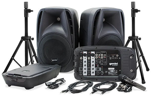 Gemini ES-210MXBLU-ST Portable PA System with Speaker Stands